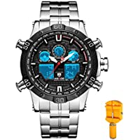 WEIDE Men Analog Digital Quartz Watch LCD Alarm Chronograph Bussiness Dress Watches Waterpoor Stainless Band Pins Link Remover Repair Tool