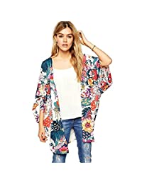 Doinshop Women Casual Colorful Floral Print Kimono Loose Cardigan Chiffon Tops Blouse