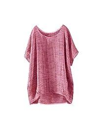 kingf Womens Bat Short Sleeve Top Juniors Long Shirt Dress Cotton Thin Section Blouse