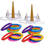 Grobro7 Unicorn Ring Toss Pool Game for Kids,Funny Family Game Set and Pool Party Favor Supplies,18 Pack