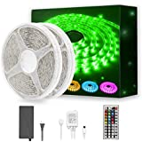 DAYBETTER Led Strip Light Waterproof 600leds 32.8ft 10m Waterproof Flexible Color Changing RGB SMD 5050 600leds LED Strip Light Kit with 44 Keys IR Remote Controller and 12V Power Supply