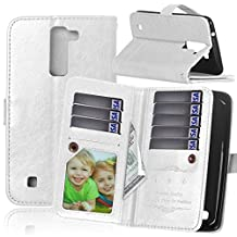 LG K7 Case, LG Tribute 5 Case, NOKEA [Flip Fit] [Kickstand Feature] Luxury Premium PU Leather Wallet with 9 Card-Slots & Magnetic Flap Closure [Anti-Scratches] [Drop Protection] Protective (White)