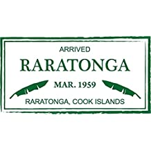 "Raratonga Cook Islands Passport Travel Retro Stamp Sticker Decal Design 5"" X 3"""