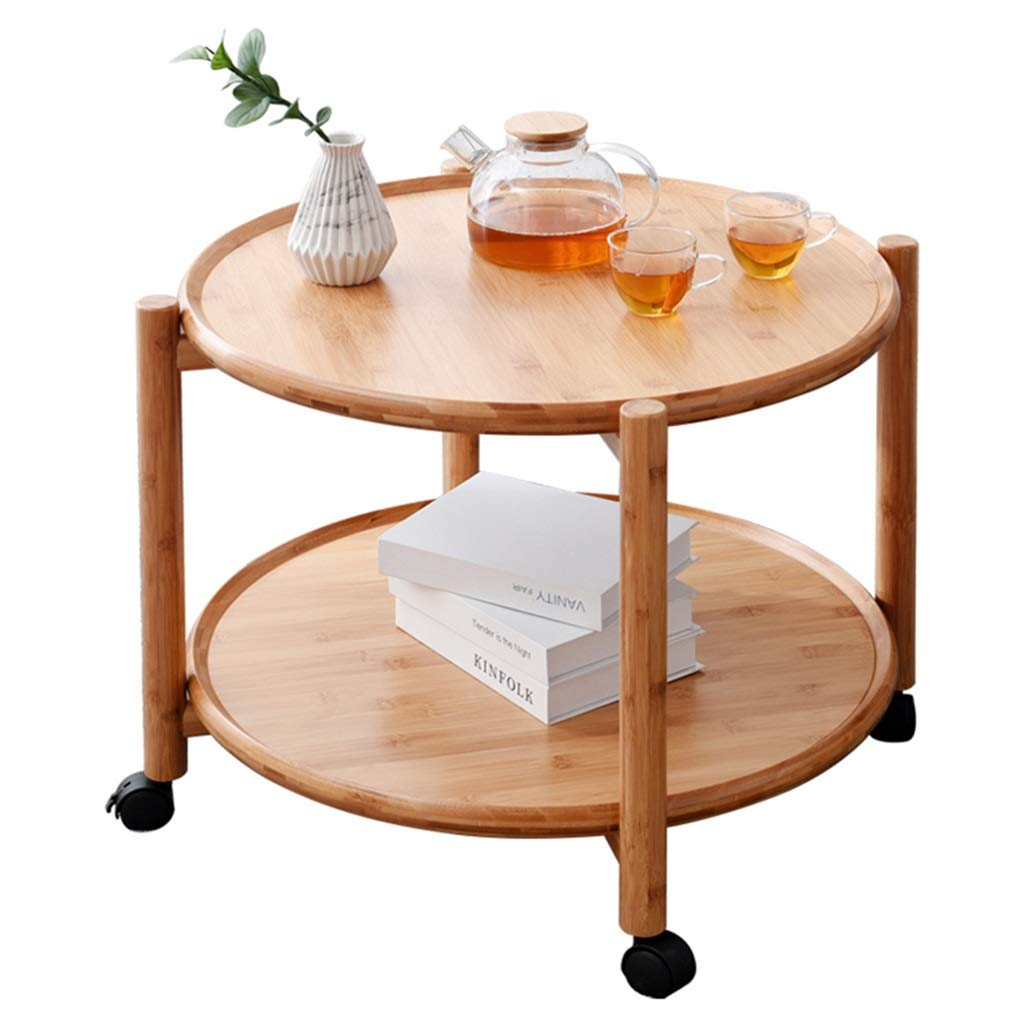 Yellow 57.550cm Tables Coffee Table Household Tatami Table Movable Table Balcony Bay Window Tea Table Double Storage Table Gift (color   Yellow, Size   57.5  50cm)