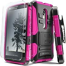 Evocel DROID MAXX 2 Case [Generation Series] Rugged Holster [Kickstand & Belt Swivel Clip] + HD Screen Protector For DROID Maxx 2 XT1565/ Moto X Play (2015 Release), Pink (EVO-MOTXT1565-AB205)
