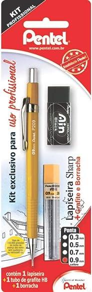 Lapiseira Sharp P200 + Grafites + Borracha, Pentel, Amarelo, 0.9 mm