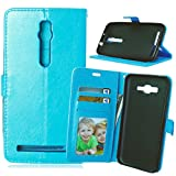 for Asus ZenFone 2 Premium PU Leather Case Pouch, Flip Wallet Case Silicone Cover with Card and Cash Slot for Asus ZenFone 2 5.5 inch ( Color : Blue-Asus ZenFone2 5.5 Inch )
