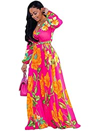 ac2a4cc7e2ba2 Womens Stylish Chiffon V-Neck Printed Floral Maxi Dress with Waisted Belt Plus  Size