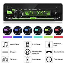 Bluetooth Car Stereo,GOOJODOQ Digital Media Player, Single Din Car Radio, in-Dash Car MP3 Player USB/SD/TF/FM/Audio Receiver Hands Free Calling with Wireless Remote Control +7 Light Colors Adjustable