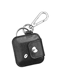 Fintie Case with Carabiner Keychain for Tile Mate (2016 & 2018)/ Tile Pro/Tile Sport/Tile Style Key Finder Phone Finder, Anti-Scratch Vegan Leather Protective Skin Cover with Speaker Cutout, Black