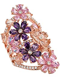 Rose Gold-Plated Pear Cut Glass and Cubic Zirconia Pink and Purple Flower Cluster Ring