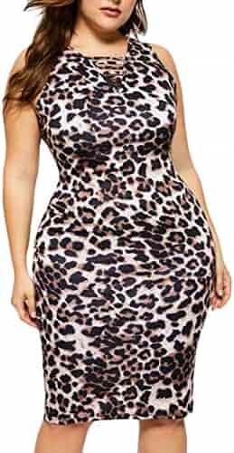 c4c6dbc1 Sweatwater Women V Neck Sleeveless Sexy Leopard Cut Out Club Midi Bodycon  Dresses