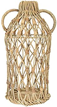 "Bloomingville Decorative 17"" H Handwoven Rattan Handles Vase,"