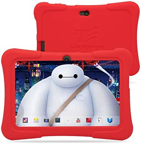 Dragon Touch Y88X 7-Inch (8GB, Quad Core, Android 4.4) Kids Tablet Bundle with Zoodles Pre-Installed and Red Silicone Case