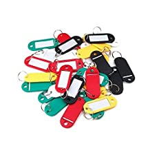 Sonline 30 X Coloured Plastic Key Fobs Luggage Id Tags Labels Key Rings With Name Cards, Ideal For Many Uses - Bunches Of Keys, Luggage Tags, Memory Sticks, Name Tags For Your Pets, Etc...