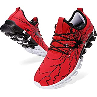 BRONAX Mens Fashion Sneakers Lightweight Street Lace up Non Slip Casual Walking Athletic Sport Running Shoes for Men Zapatos de Hombre Deportivos Red and Black Size 11