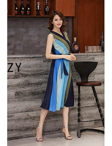 Jolie PU&PU Damen Swing Kleid-Ausgehen Lässig Alltäglich Einfarbig V-Ausschnitt Midi Ärmellos Polyester Frühling Sommer Mittlere Hüfthöhe