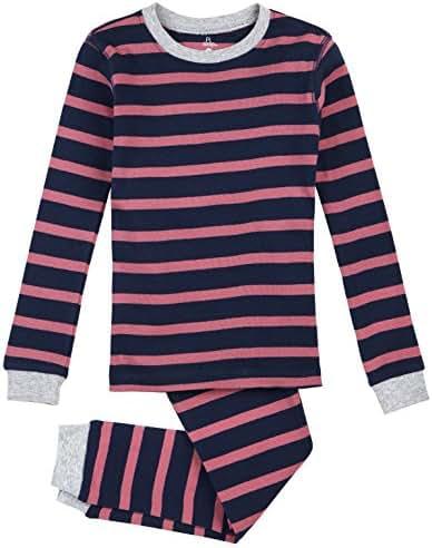 Petit Lem Big Girls' Ocean Stripe 2 Piece Pajama Set