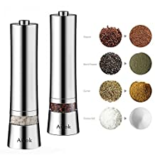 Aicok Salt and Pepper Mill Grinder Set, Electric Salt Shakers with LED Light, Adjustable Stainless Steel Coarseness Ceramic Crusher for Peppercorns, Sea Salt, Spices, Cumin (2-Pack, Silver)