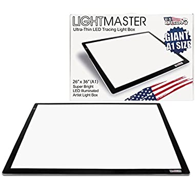 US Art Supply Lightmaster Giant 45-1/4  Diagonal (A1) 26 3/4  x 36 3/4  LED Lightbox Board- 12-Volt Super-Bright Ultra-Thin 3/8  Profile Light Box Pad with 110V AC Power Adapter & Dimmable LED Lamps