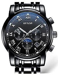 Carlien Men'S Luxury Moon Phase Automatic Mechanical Multi-Function Luminous Watch (Black)