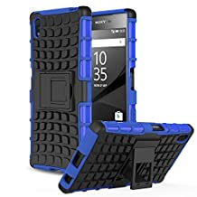 Sony Xperia Z5 Case - MoKo Heavy Duty Rugged Dual Layer Armor with Kickstand Protective Cover for Sony Xperia Z5 5.2 Inch Smartphone 2015 Edition, BLUE