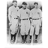 Bill Dickey, Lou Gehrig & Joe DiMaggio NY Yankees 8x10 Photo