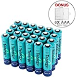 24 pcs Tenergy AAA 1000mAh High Capacity NiMH Rechargeable Batteries with 6 FREE Holders