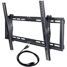 Sunyear Tilting Low Profile TV Wall Mount Bracket for most 32-65 inch TVs 15 Degree Tilt for LED, LCD, OLED and Plasma Flat Screen TVs, Up to 600 x 400 VESA Patterns with 6 feet HDMI Cable