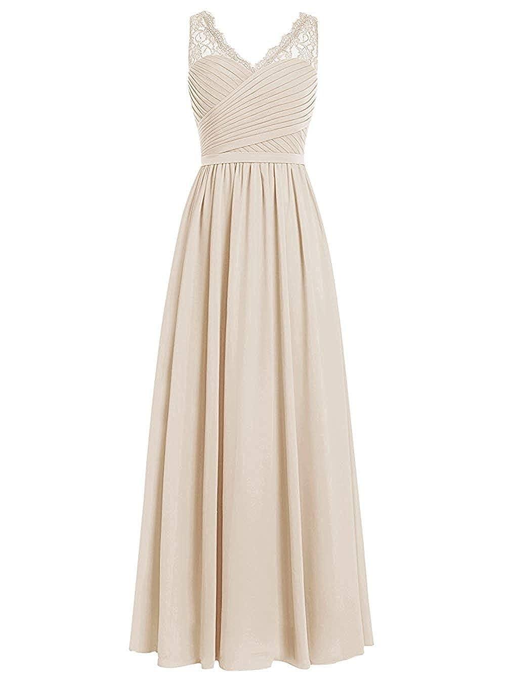 Champagne Loffy Women's Elegant VNeck Sleeveless Formal Long Evening Dres