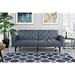 Modern Tufted Fabric Sleeper Sofa Bed with Nailhead Trim, Grey