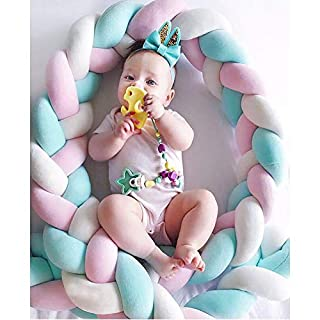Soft Knot Pillow Decorative Baby Bedding Sheets Braided Crib Bumper Knot Pillow Cushion (White+Pink+Green, 78.7 inch)