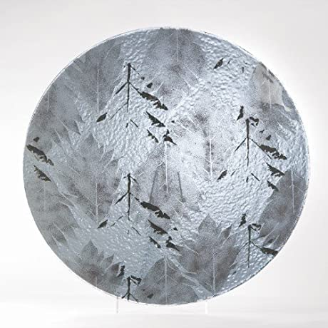 Silver Leaf Contemporary Gray Art Glass Charger Plate Modern Decorative Leaves
