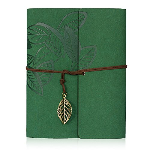 Scrapbook Album,Leather Leaf Pattern Vintage Photo Album Family DIY Memory Retro Photo Book Guestbook for Anniversary Mother Birthday Valentine 60 Pages(Green) by See han