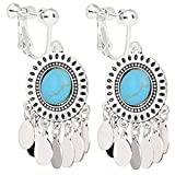Clip On Bohemia Earrings Blue Deco Design Dangle Simulation Turquoise Silver Plated Popular Lover Gift