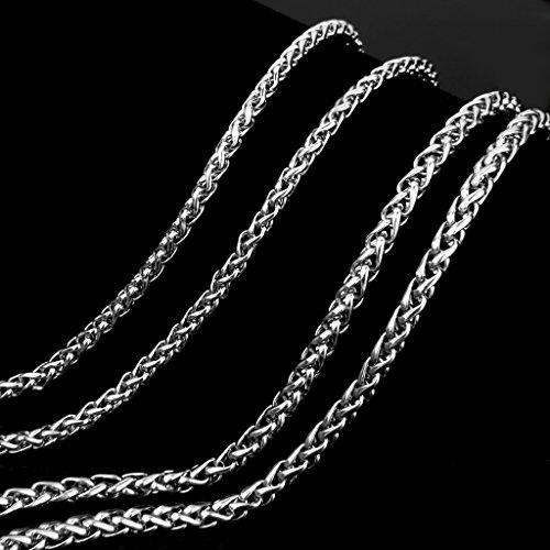 4mm Chaîne Homme Collier en Acier Inoxydable Couleur d'Argent 61cm de Long