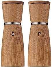 WMF Ceramill Nature Salz und Pfeffermühle-Set, 2-teilig, unbefüllt, Holz Keramikmahlwerk, Mühle für Salz, Pfeffer, Chillischoten, H 17,9 cm