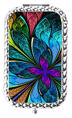 (Specialized Design Rectangle Slivery Colorful Peacock Feather Portable makeup mirror, Travel Compact Portable Pocket Folding Makeup Vanity Cosmetic Mirror for)