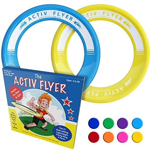 Activ Life Best Kids Frisbee Rings [Yellow/Cyan] - Top Birthday Presents & Gifts for Young Boys Girls Ages 3 and Up - Ultimate Outdoor Toss Toys at Beach Vacation, School (Cbs Toys)