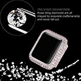 Secbolt 38mm Bling Case Compatible with Apple Watch Band, iWatch Series 3 2 1, Stainless Steel Metal Sparkling Crystal Diamond Cover Bezel Rhinestone Full Protective Frame, Rose Gold