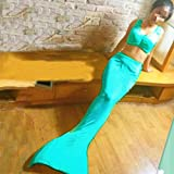 Women Girls Swimmable Mermaid Tail Tails Swimsuit Med Sea Affordable No Monofin Color: Lake Blue Size: MLake BlueM
