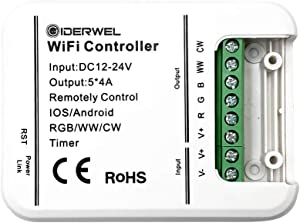 GIDERWEL Smart Wireless WiFi RGBWW LED Controller for RGB RGBW RGBWW Strip Lights Work with Alexa and Google Assistant,No HUB Required (Only WiFi led Controller)