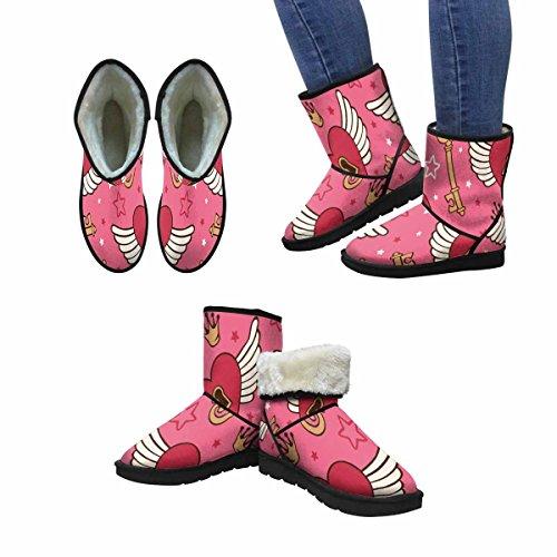 Interestprint Mujeres Snow Botas Vector Con Corazones Y Alas Unique Designed Comfort Winter Botas Multi 1