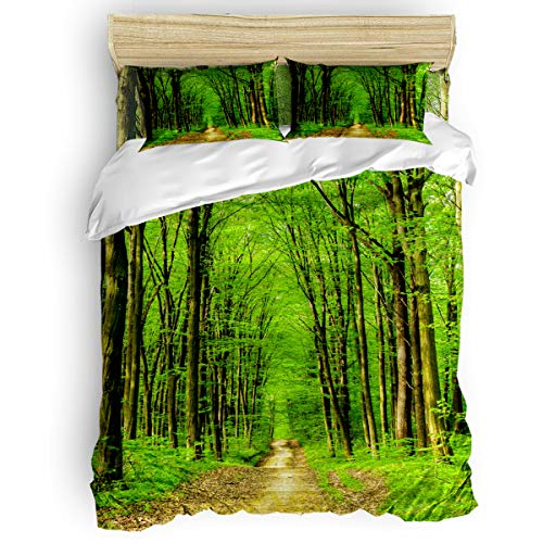 Lincoln Road Halloween Time (Reversible Duvet Cover Set 4pc King Hotel Soft Lightweight Microfiber Bedding Sets A Small Road in The Middle of The Green Deep Forest. Comforter Down Quilt Covers with 2 Pillow)