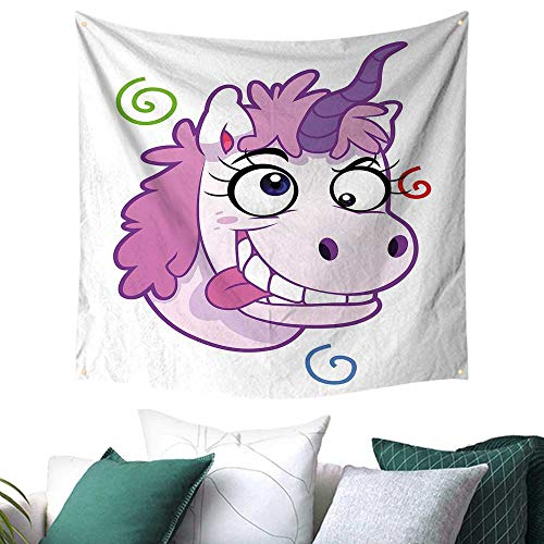 Funny Tapestry for Living Room Crazy Unicorn with Happy Face Girls Kids Princess Life Nursery Bizarre Cartoon Home Decor Bed Cover 55W x 55L Inch Lilac Purple