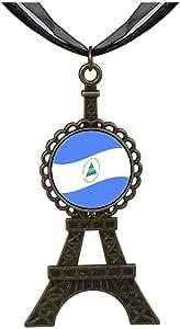 Chicforest Bronze Retro Style Nicaragua Flag Eiffel Pendant