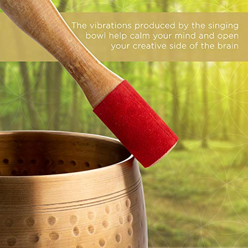 Meditative Brass Singing Bowl with Mallet and Cushion - Tibetan Sound Bowl for Energy Healing, Mindfulness, Grounding, Zen, Meditation - Exquisite, Unique Home Decor and Gift Sets by Telsha (Image #5)