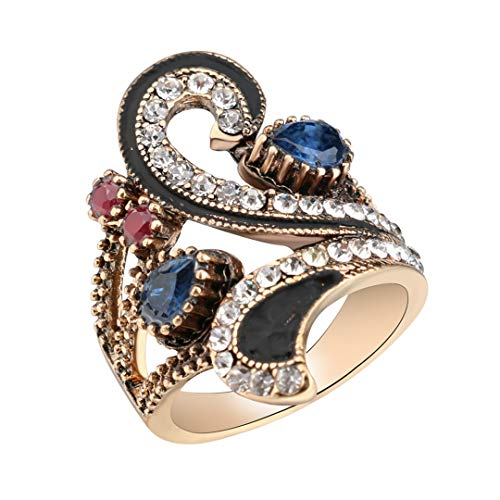 MARRLY.H Vintage for Women Color Gold Punk Turkish Jewelry Colorful Resin Black Enamel Ring Party Gifts Accessories Blue 10 ()
