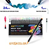 HETHRONE 24+1 Watercolour Brush Pens, Paper Set Paint Art Water Colouring Aqua Pen Perfect Art Supplies,for Painting Drawing Adult Kids Calligraphy Manga Stationery
