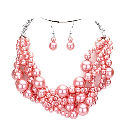 Faux Strand Earrings - Fashion 21 Women's Simulated Faux Braided, Twist Multi-Strand Pearl Statement Collar Necklace and Earrings Set (Twisted - Papaya)